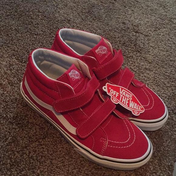 Vans Shoes | Red Velcro Vans | Poshmark